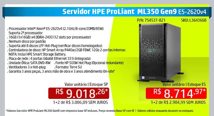 INGRAM MICRO - HPE em Foco --  Servidor Proliant ML350 Gen9 | P/N: 754537-B21 – HPE ML350GEN9 1P E52620 1X16GB dvd-rw, 1 fonte 500w | SKU L364366B | Descrição:-1 x Processador Intel® Xeon® E5-2620v4 (2.1GHz/8-core/20MB/85W) - Suporta 2º processador -1 x 16GB (1x16GB) x4 DDR4-2400 (12 slots por processador) -Disco: Nenhum por padrão -Suporta até 8 discos LFF Hot-Plug (verificar discos homologados) -Controladora de disco: HP Smart Array P440ar/2GB FBWC 12Gb 2-portas internas NOTA: Inclui HPE Smart Storage Battery. -Placa de rede : 4 portas Gibabit Ethernet 331i (integrada) -Unidade Ótica: SATA DVD-RW  -1 Fonte HP 500W Hot Plug (Opcional redundante) -Ventiladores 3 x Hot-plug -Formato: Torre 5U -Garantia 3 anos peças, 3 anos mão de obra e 3 anos atendimento On-site