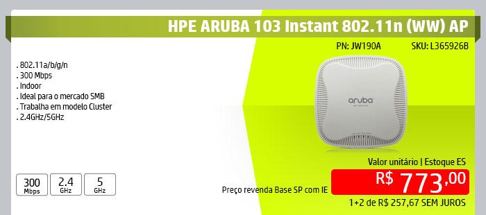 INGRAM HPE - HPE em Foco --- HPE ARUBA 103 Instant 802.11n (WW) AP | P/N HP - JW190A | SKU: L365926B | 802.11a/b/g/n | 300 Mbps | Indoor | Ideal para o mercado SMB | Trabalha em modelo Cluster | 2.4GHz/5GHz