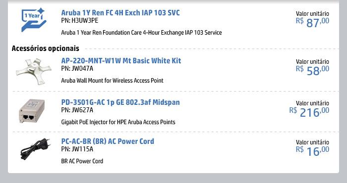 INGRAM HPE - HPE em Foco --- H3UW3PE | Aruba 1Y Ren FC 4H Exch IAP 103 SVC -- JW047A - AP-220-MNT-W1W Mt Basic White Kit | JW627A - PD-3501G-AC 1p GE 802.3af Midspan | JW115A - PC-AC-BR (BR) AC Power Cord