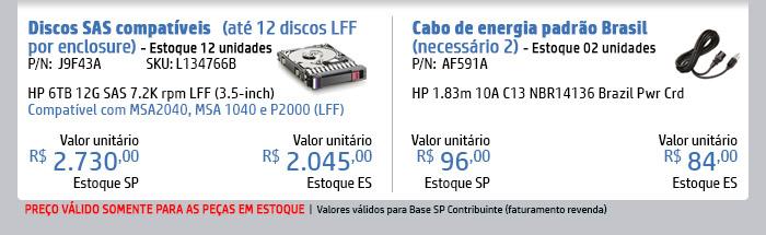 INGRAM MICRO - HPE em Foco -- pn:N9X93A (SKU: L141268B) | HPE 2TB 12G SAS 7.2K 3.5in 512n HDD | Compatível com MSA2040, MSA1040 e P2000 (LFF) -- pn:AF591A | HP 1.83m 10A C13 NBR14136 Brazil Pwr Crd