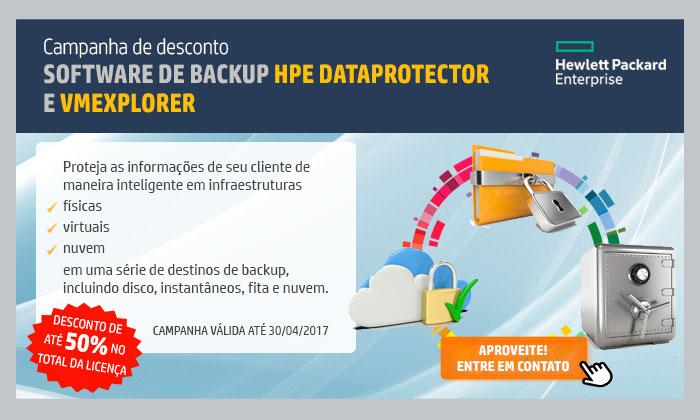 INGRAM HPE - HPE em Foco | CAMPANHA DE DESCONTO | SOFTWARE DE BACKUP HPE DATAPROTECTOR E VMEXPLORER | ATÉ 50% NO TOTAL DA LICENÇA | Proteja as informações de seu cliente de maneira inteligente em infraestruturas | •Físicas •Virtuais •Nuvem em uma série de destinos de backup, incluindo disco, instantâneos, fita e nuvem. | CAMPANHA VÁLIDA ATÉ 30/04/2017 | APROVEITE! ENTRE EM CONTATO